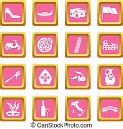 Italia icons pink - Russia icons set in pink color isolated...