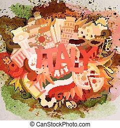 italia, illustration., scarabocchiare, mano, vettore, disegnato, cartone animato