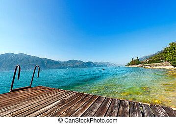 italia, -, lago, garda, pequeño, muelle