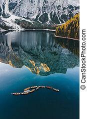 italia, lago, outono, braies, di, lago, paisagem