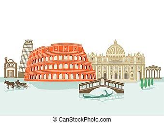 Landmarks in Italy, illustration