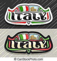 italia, logotipo, vector