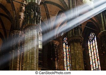 italia, luz, dentro, brillante, rayo, catedral de milano