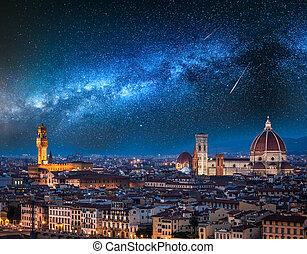 italia, manera, florencia, encima, estrellas, lechoso, caer,...