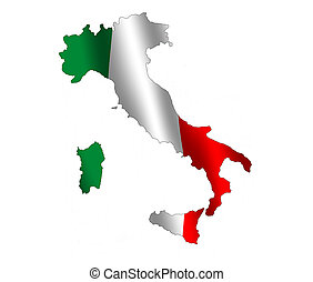Italia - Map of Italy filled with its waving flag