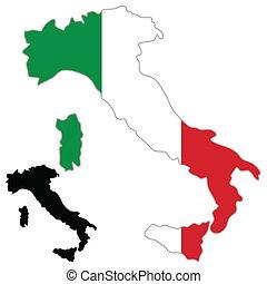 italia, mapa, bandera