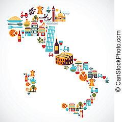 italia, mapa, con, vector, iconos