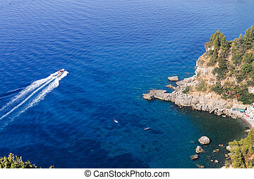 italia, osservazione, positano., ponte, amalfi, coast., vista