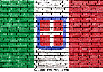 italia, pared ladrillo, bandera, pintado, reino