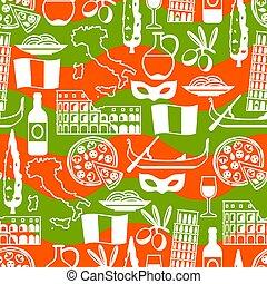 italia, pattern., seamless, símbolos, objetos, italiano