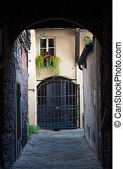 italia, pittoresco, -, vicolo, toscana, lucca