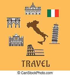 italia, plano, viaje, símbolos, y, iconos