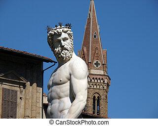 italia, plaza, signoria, neptuno, parte, estatua fuente, ...