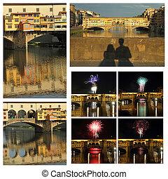 italia, ponte, collage, vecchio, imágenes, florencia