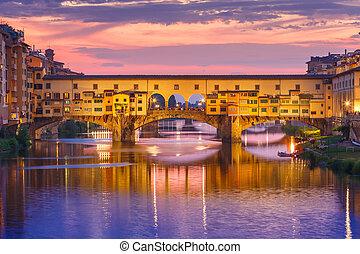italia, ponte vecchio, florencia, arno, ocaso