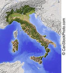 italia, protegidode la luz, mapa en relieve