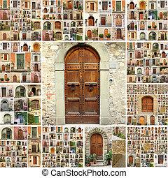 italia, puertas, collage, retro, terreno, imágenes