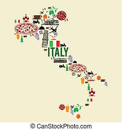 italia, punto di riferimento, mappa, silhouette