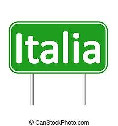 Italia road sign. - Italia road sign isolated on white...