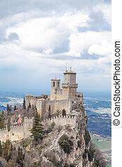 italia, san marino, república, rocca, guaita, castillo, della