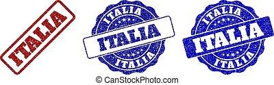ITALIA Scratched Stamp Seals - ITALIA grunge stamp seals in...