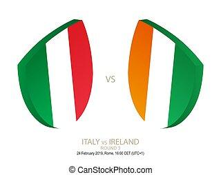 italia, sei, campionato, nazioni, 3, vs, 2019, irlanda, rugby, rotondo