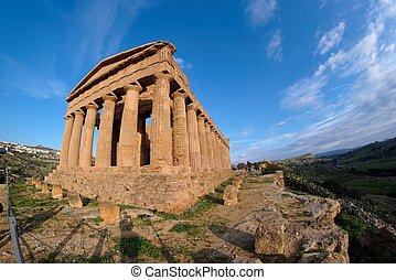 italia, sicilia, concordia, agrigento, templo, fisheye, ...
