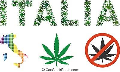 Italia Text Mosaic of Weed Leaves - Italia caption mosaic of...