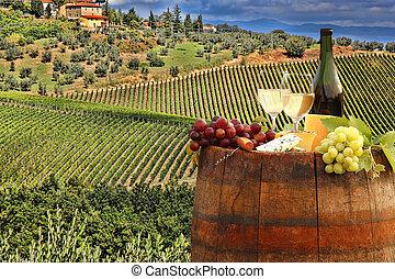 italia, toscana, chianti, vigneto, barile, vino bianco