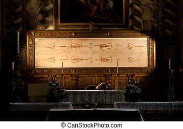 italia, turín, -, sagrado, mortaja