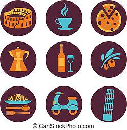 italia, vector, conjunto, iconos