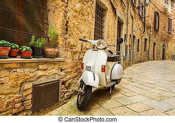 italia, vespa, calle, viejo, patineta