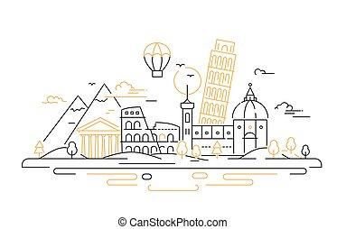 italia, viaje, -, ilustración, vector, línea