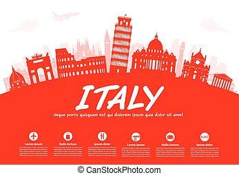 italia, viaje, señales, vector