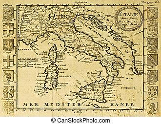 italia, viejo, mapa