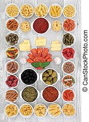 italiaans voedsel, bestanddeel, sampler