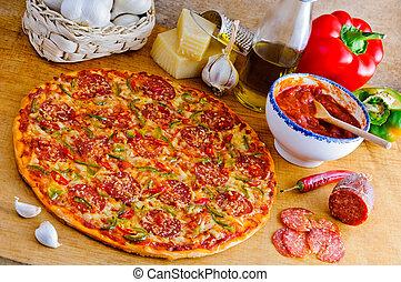 italiaanse , ingredienten, pizza