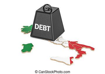italiaanse , nationale, schuld, of, begroting, tekort, financieel, crisis, concept, 3d, vertolking