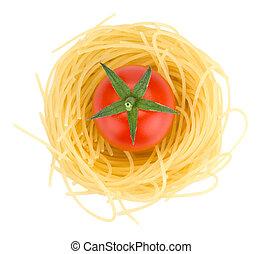 italiaanse , pasta, en, kerstomaatjes