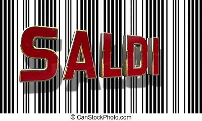 italiaanse , verkoop, 3d, looping, animatie, met, streepjescode, abstract, lijn, achtergrond