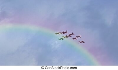 Italian acrobatic aircraft squadron in demonstration in the sky of Bologna city in italy.