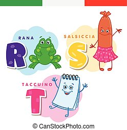 Italian alphabet. Frog, sausage, notepad. Vector letters and...