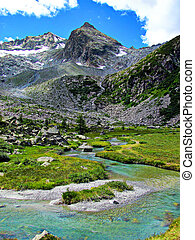 A mountain stream coming from a glacier. Photo taken in a sunny summer day. (Italian Alps landscape.)