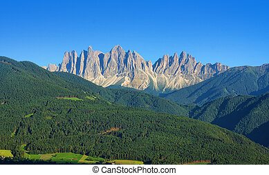 Italian Alps of Dolomites in Val di Funes