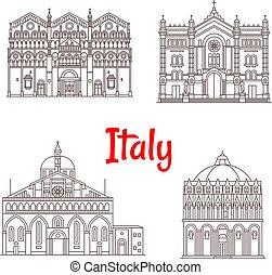 Italian architecture Italy landmarks vector icons - Italy...