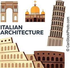 Italian Architecture. Modern flat design. Vector illustration.