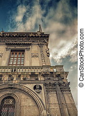 Italian architecture with cloudy sky background