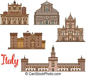 Italian architecture travel landmarks icon set