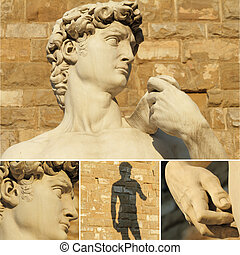 collage with renaissance sculpture of David by Michelangelo, Florence, Italy, Europe