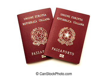 Italian biometric e-passports on a white background